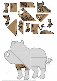 Jigsaw Puzzle with Warthog Visual Motor Activities, Toddler Activities, Library Games, Jigsaw Puzzles For Kids, Quiet Book Patterns, Hidden Pictures, English Language Learning, School Themes, Preschool Math