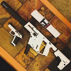Kriss Vector Carbine & Kriss Sphinx 9mm Pistol | Alpine White #kriss #krissvector #sphinx #guns #pistols #9mm #badass #unique #firearms