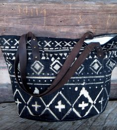 Canvas, Leather & Denim Patterned Tote Bag | Women's BAGS & ACCESSORIES | Bow + Arrow | Scoutmob Shoppe | Product Detail