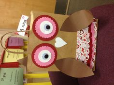 Give a hoot! Owl valentine holder box I  made for daughters first grade class