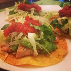 #TacoTuesday Roasted Chicken Tostadas with Avocado Tomatillo Verde Sauce! Yum!