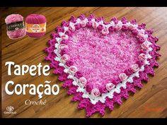Tapete de Crochê Coração botão de Rosa - Parte 2 - Simone Eleotério - YouTube