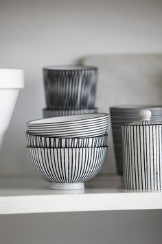 House Doctor - Set of 3 Porcelain Stripes Bowls - Black/White