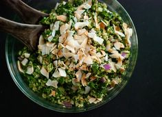 Coconut Quinoa and Kale with Tropical Pesto - coconut and kale go really well together in this warm salad. (Use regular coconut milk; serves 8 as a side dish)