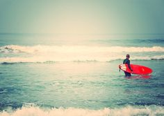 as seen on Modern Family. surfer photograph. Liquid Courage red surfboard white mint blue beach California seaside, for him, dorm decor. $17.00, via Etsy.