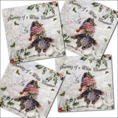 4 Pack Cute Owl Christmas Cards