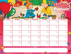 Printable Caillou Calendar – February 2017