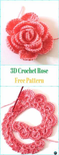 Crochet Flower Rose Free Patte