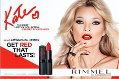 """Kate Moss' Iconic """"Get the london look"""" collaboration with Rimmel, resulting in Moss launching her own lipstick range with the brand. Rimmel Lipstick, Red Lipsticks, Kate Moss News, Best Red Lipstick, Dark Lipstick, Makeup Samples, London Look, Rimmel London, Rolodex"""