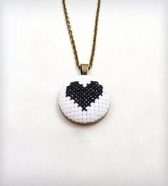 Cross Stitch Heart Necklace - Black and White | Women's Jewelry | Zelma Rose | Scoutmob Shoppe | Product Detail