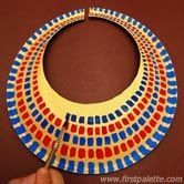 "Egyptian Collar: Position large paper plate bottom side up. Trace hole, cut & cut vertical slit. Once you are happy with the collar's fit, paint it gold. Paint short strokes to form each row or layer of ""beads"". Paint more rows of colors until you have decorated the entire collar. X"