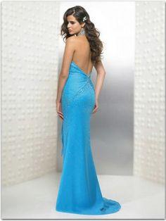 2012 Style A-line Halter  Beading  Sleeveless Floor-length Tulle  Blue Prom Dress / Evening Dress
