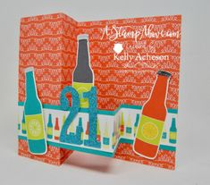 The BUBBLE OVER bundle is so much fun! It's great for kids cards and you can turn those bottles of soda into beer for the adults in your life!!! I have a video tutorial showing you how SUPER DUPER easy this DOUBLE Z FOLD card is to make without all the measuring!!! Click on the photo to go to my blog where you can watch and order any supplies that you might need. THANKS for looking! www.AStampAbove.com
