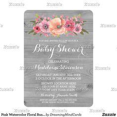 Pink Watercolor Floral Rustic Wood Baby Shower Card Personalized baby shower invitations with rustic grey wood pattern and pretty vintage watercolor flowers in shades of peach and pink. Perfect for a spring or summer baby shower.