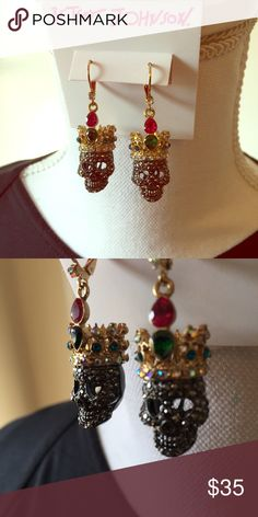 Betsey Johnson Crown Skull Earrings These awesome, devilish earrings feature silver Rhinestone covered skulls wearing gold crowns with rhinestones in red, green, and blue. Betsey Johnson Jewelry Earrings