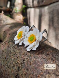 """Cercei argint """"anemone albe"""" - Fimoclas Anemone"""
