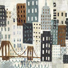 New York Skyline Collage - Grey I - Wall Mural