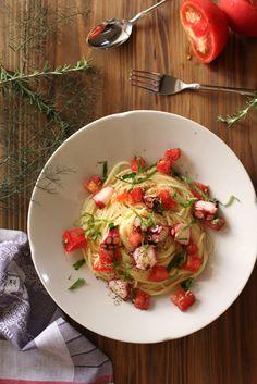 marinated octopus and tomato cold pasta, spaghetti