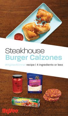 Make restaurant-worthy calzones with Hy-Vee Steakhouse bacon-Cheddar burgers, pizza crust, pizza sauce, and Italian cheese. How To Cook Burgers, Italian Cheese, Crust Pizza, Calzone, 500 Calories, 4 Ingredients, Quick Easy Meals, Cheddar