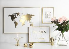 Gold world map for a modern living room