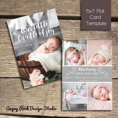 INSTANT DOWNLOAD  Birth Announcement  5x7 by AngryRockDesign