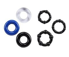 Cock ring for sex -BUNDLE OF 6 Cockrings set for man Erection Keeper Enhancer Prolong Sex 3 Donut & 3 Beaded Combo Cockring Penis ring Set + FREE EBOOK by Siesta Time (TM)