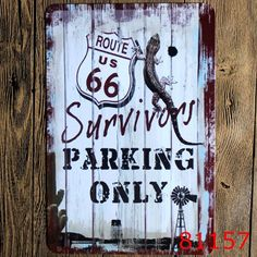 Live to Ride, Ride to Live Route 66 Survivor Parking Only Retro Tin Signs Metal Art Wall Decor for Bike Shop Repair Shop Garage Mancave Deco