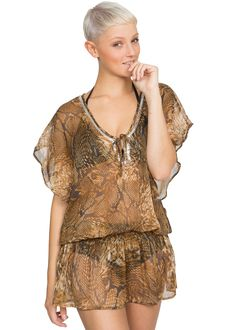 Sheer Ibiza Kaftan in Snake Print at Amazon Women's Clothing store: