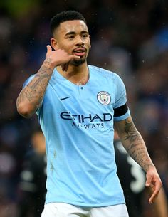 Gabriel Jesus of Manchester City celebrates after scoring his team's first goal during the FA Cup Fourth Round match between Manchester City and Burnley at Etihad Stadium on January 2019 in. Get premium, high resolution news photos at Getty Images Sterling Manchester City, Manchester City Logo, Manchester City Wallpaper, Manchester City Centre, Manchester United Soccer, Manchester England, Kun Aguero, Barcelona Soccer, Soccer Quotes