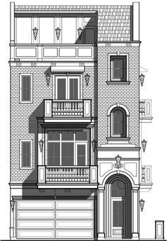 Townhouse Floor Plans, novos planos de Brownstone, Town Home Designers - Prest . Tiny House Plans, Modern House Plans, House Floor Plans, Home Design Plans, Plan Design, Building Facade, Building Design, Facade Design, Architecture Design