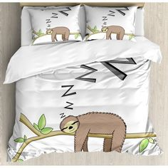 Ambesonne Sloth Duvet Cover Set, Arboreal Mammal Sleeping on Branch in Forest Lazy Mood Resting Relaxing Theme, Decorative 3 Piece Bedding Set with 2 Pillow Shams, Queen Size, Green Brown