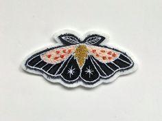 Hand Embroidered Moth Patch  Strawberry Moth  Peach by eradura