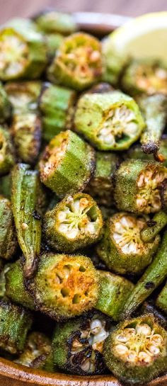 This is a simple flavorful and easy Baked Okra recipe. Seasoned with paprika salt and a pinch of cayenne this okra makes a great snack or side dish. - April 27 2019 at Healthy Side Dishes, Side Dish Recipes, Lunch Recipes, Gourmet Recipes, Cooking Recipes, Healthy Recipes, Recipes Dinner, Cooking Games, Catering Recipes