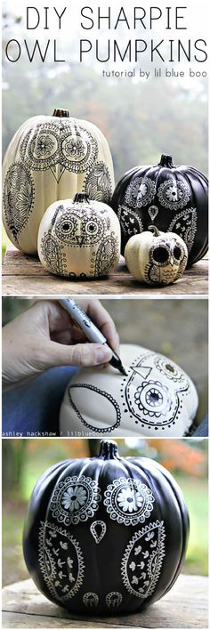 DIY Sharpie Owl Pumpkins - 20 Easy DIY Halloween Pumpkin Decorating Ideas - I Heart Crafty disfraces halloween ideas Christmas Shirts For Kids, Diy Christmas Presents, Christmas Diy, Halloween Pumpkins, Halloween Crafts, Halloween Decorations, Halloween Ideas, Halloween Painting, Halloween Stuff