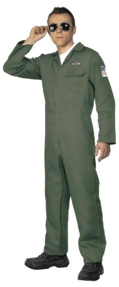 Smiffys Men's Aviator Costume with Zip Up Jumpsuit, Green, Large Best Halloween Costumes & Dresses USA 90s Fancy Dress, Fancy Dress Outfits, Adult Costumes, Halloween Costumes, Adult Halloween, Costume Dress, 5 D, Zip Ups, Jumpsuit