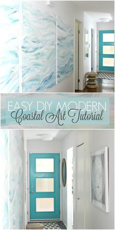 Easy DIY Modern Coastal Art Tutorial - Bring the Beach and Waves Home! Add some coastal vibes to your decor.  #diy #diyart  #moderncoastal #beachhouse #lakehouse
