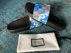 088b128c07f Extra Off Coupon So Cheap Gucci Men s Supreme GG Canvas Bloom Print Blue  Flower Slide Sandals size