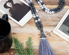 Full Gray 108 mala beads necklace, Jade & Hematite semi-precious stones, silver charms, pave strass silk tassel, yoga gift, metitation