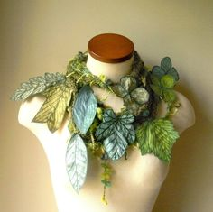 Long leafy scarf with embroidered leaves (some crochet, actually)
