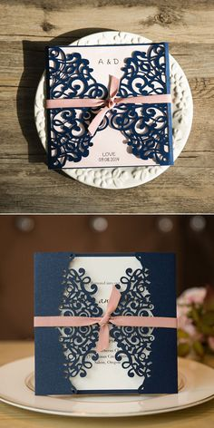 classic blush and navy blue laser cut wedding invitations