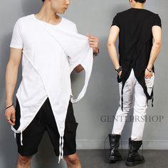 Avant-Garde-Mens-Gothic-Unbalanced-Draping-Layered-Short-Sleeve-T-Shirt-GENTLER