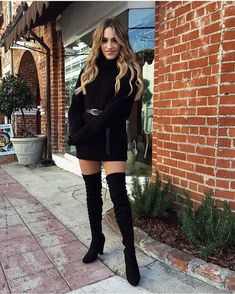 perfect christmas outfit idea / sweater dress belt over knee bootsThe Effective Pictures We Offer You About Women Sweater 2019 A quality picture can tell you many things. You can find the most beautiful pictures that can be presented to you about Wo Pullover Outfit, Sweater Dress Outfit, Winter Dress Outfits, Casual Winter Outfits, Classy Outfits, Stylish Outfits, Christmas Outfit Women Dressy, Dress Boots, Black Sweater Dress
