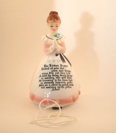 SOLD Rare Enesco Kitchen Prayer String Dispenser, Wall Hang or Shelf Sit, Lady in Pink, Praying, Collectable Figurine 1950s