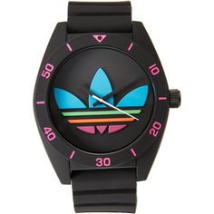 Adidas ADH2970 Black Santiago Watch ($47) ❤ liked on Polyvore featuring men's fashion, men's jewelry, men's watches, mens stainless steel watches, colorful mens watches and mens black face watches