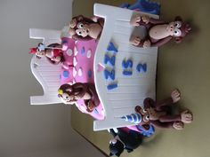 Monkeys on the bed for our own special little monkey - Izzy on her 2nd birthday. She loved it......cake, chocolate and jumping on the bed, what else could a two year old want.