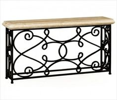 Limed Wood Console Table With Wrought Iron Base 495064 Tables
