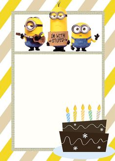 Minion Birthday Invitation Template - Minion Invitations - The Best of # Birthdays invitations Minion Invitations - The Best of 2018 Minions Birthday Theme, Minion Theme, Farm Birthday, Minion Birthday Invitations, Baby Invitations, Birthday Banners, Invitation Wording, Invitation Cards, Minion Template