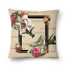 Compre Sweet Little Song de @lagostadesregrada em almofadas de alta qualidade. Incentive artistas independentes, encontre produtos exclusivos. #colagem #partitura #floral #music #amor #vintage #musica #beijaflor #love #anatomia #almofada #flores #Hummingbird