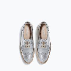 Zara Metallic Platform Bluchers ($119) ❤ liked on Polyvore