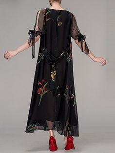 Chiffon Casual Half Sleeve Maxi Dress